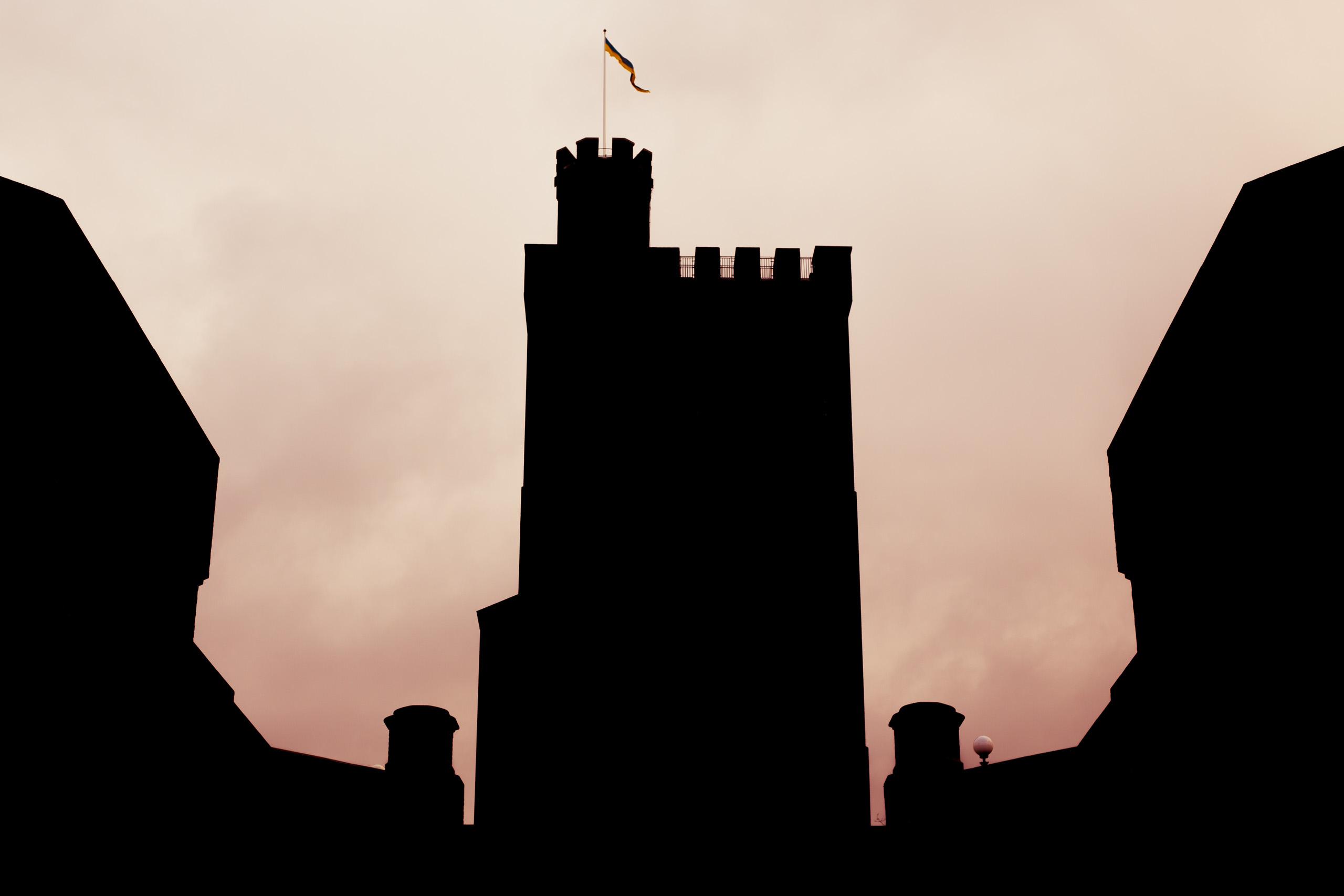 Siluett av tornet, rosa