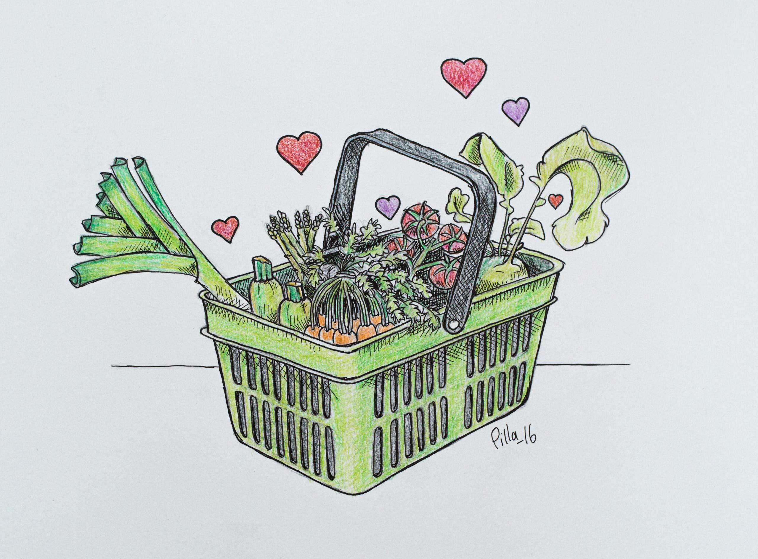 Tecknad grön kundkorg