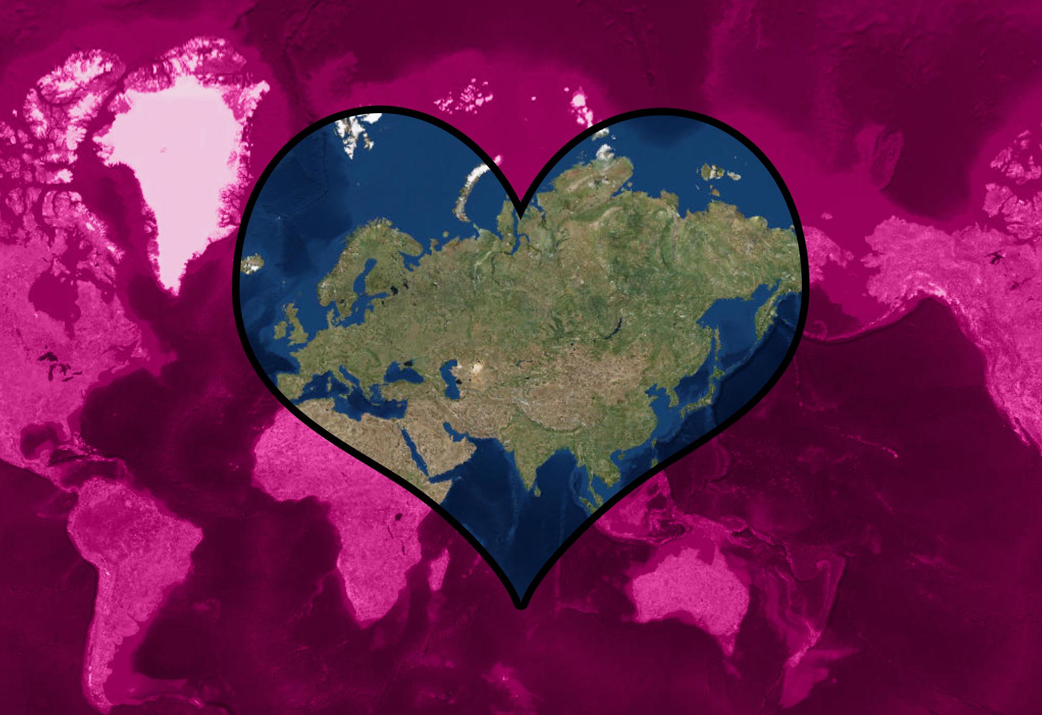 Världskarta med hjärta
