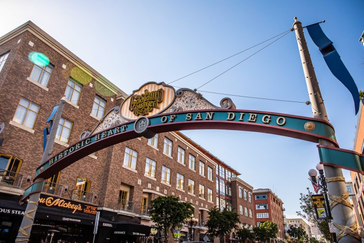 San Diego big sign for Gaslamp quarter