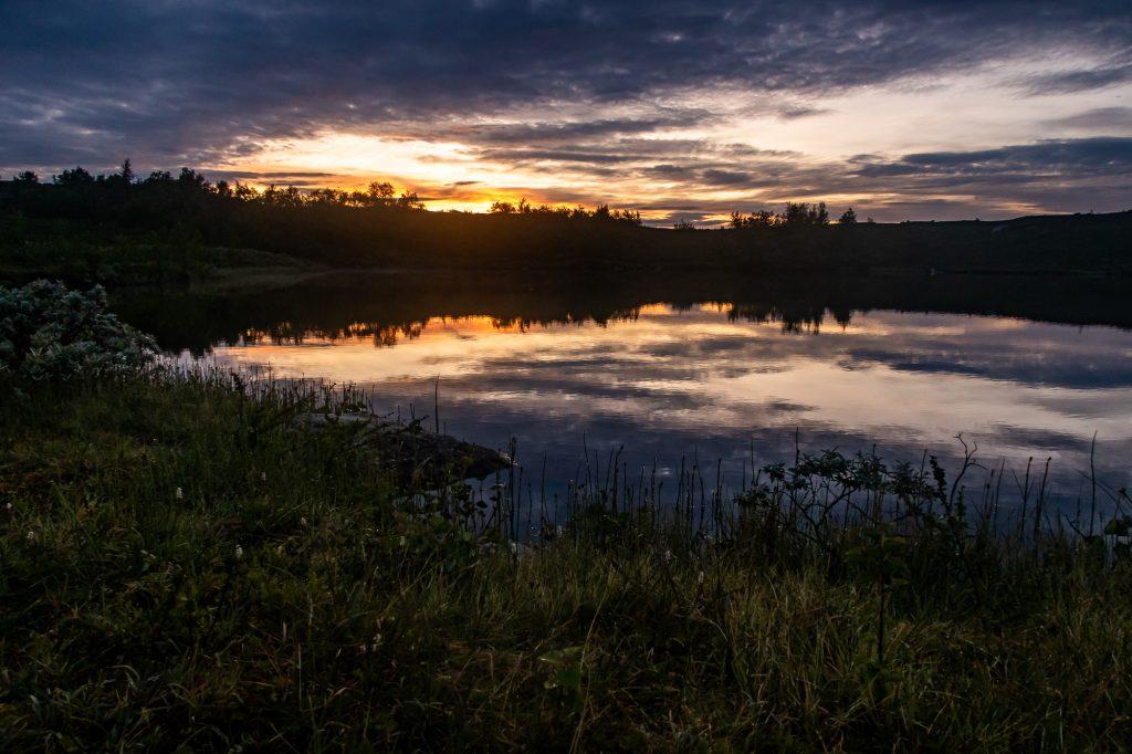 Solnedgång vid Aigertstugan