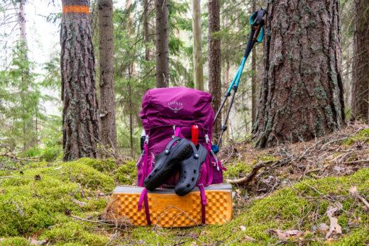 Ryggsäck packad för vandring