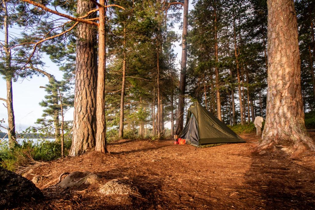 Tält vid Käringaudden i Tivedens nationalpark