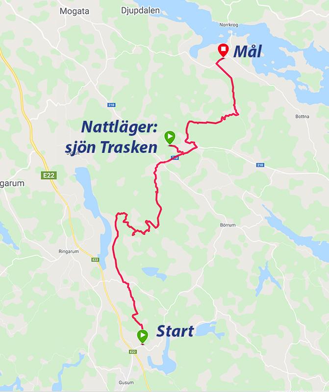 Karta över min vandring längs Östgötaleden