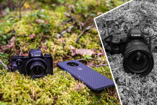 Kompaktkamera, mobil och systemkamera i skogen