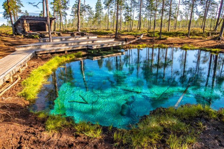 Grodkällan har turkosfärgat vatten